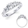 Three Stone 14K White Gold Diamond Engagement Ring 0.80 ctw