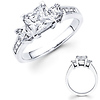 3 Princess Diamond with Side Diamond 14K Engagement Ring-0.95ctw