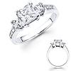 3 Stone 14K White Gold Diamond Engagement Ring 0.95ctw