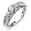 0.75ct 14K White Gold Prong Set Scroll Engagement Ring