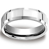 6mm Designer Beveled Comfort Fit Platinum Benchmark Band