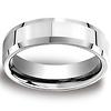 6mm Designer Beveled Comfort Fit Platinum Benchmark Band