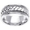 8.5mm 14K White Gold Woven Handmade Band