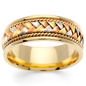 8.5mm Men's Handmade Flat Braided 14K Tri Color Gold Wedding Band