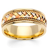 8.5mm Handmade Woven 14K Tri Color Gold Band