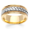 8.5mm Handmade 14K Two Tone Gold Woven Men's Ring