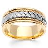 8.5mm Handmade 14K Two Tone Gold Woven Men's Ring