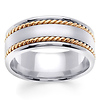 8mm Men's Handmade Rope 14K Two Tone Gold Braided Ring