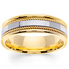 7mm Designer Handmade Rope 14K Two Tone Gold Men's Wedding Band