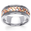 8.5mm 14K White Gold Handmade Rope & Tri Color Braided Wedding Band