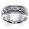 Designer 8mm Rope Patterned 14K White Gold Men's Ring