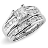 14K White Gold Princess Center Channel Set Bridal Ring Set