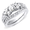 1.00ct 14K White Gold Engagement Ring Set