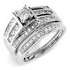 Wide 14K White Gold Princess Cut Diamond Engagement Ring Set 1ctw