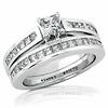 14K White Gold Princess Cut Diamond Wedding Ring Set