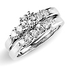 0.75ctw 14K White Gold Prong Set Engagement Ring Set
