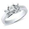 14K White Gold Trellis 3 Stone Princess Cut Diamond Engagement Ring 0.5ctw