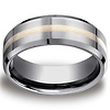8mm Tungsten 18K Gold Inlay Designer Comfort Fit Wedding Band