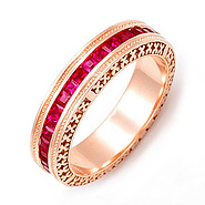 rose gold signature edge ruby eternity band