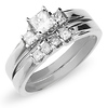 3 Stone Princess Cut 14K White Gold Engagement Ring Set