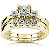 3 Stone Princess Cut 14K Yellow Gold Wedding Ring Set