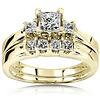 14K Yellow Gold 3 Stone Princess Cut  Diamond Wedding Ring Set 0.50ctw