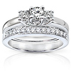 3 Stone 14K White Gold Prong Set Bridal Ring