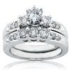 Regal 14K White Gold 3 Stone Diamond Bridal Ring Set