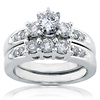 14K White Gold 3 Stone Prong Set Bridal Ring Set