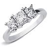 14K White Gold 3 Stone Princess Cut  Bridal Engagement Ring