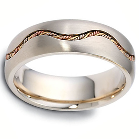 7mm Tri-Color Waving Rope Braid 14K Gold Dora Wedding Band