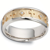 0.08 tcw 14K Two Tone Gold Diamond Cross Dora Wedding Band