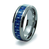 Blue Carbon Fiber Inlay Men's Tungsten Ring
