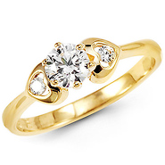 14k Yellow Gold Round CZ Heart Ring