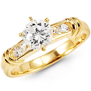 Round Cubic Zirconia Channel Set 14K Ring