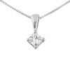 14K White Gold 0.33ct Princess Cut 4 Prong Solitaire Pendant