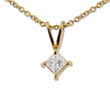 14K Yellow Gold 0.33ct Princess Cut 4 Prong Solitaire Pendant