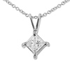 14K White Gold 0.50ct Princess Cut 4 Prong Solitaire Pendant