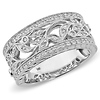 14K White Gold 0.25ctw Diamond Floral Design Ring
