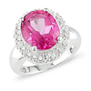 Sterling Silver White & Pink Topaz Ring