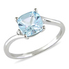 10K White Gold 1.75 CT TGW Blue Topaz & Diamond Fashion Ring