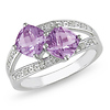 Sterling Silver 1.75 CT TGW Amethyst & Diamond Fashion Ring