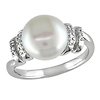 0.05 CT Diamond TW 9 - 9.5 MM Freshwater Pearl Fashion Ring Silver GHI I2;I3