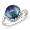 Sterling Silver 0.10 CTW 9.5mm Freshwater Pearl Fashion Ring