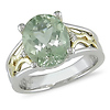 10K Gold Sterling Silver Diamond & Green Amethyst Ring