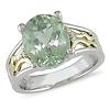 10K Gold Sterling Silver Diamond & Green Amethyst Ring