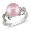 Sterling Silver Pink Freshwater Pearl Ring with Diamond Accents