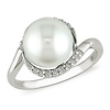 Sterling Silver Freshwater Pearl Ring with Diamond Accent Halo
