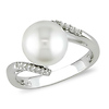 Sterling Silver Bypass Freshwater Pearl Ring with Diamond Accents