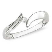 10K White Gold Bypass Solitaire Diamond Ring